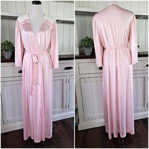 Vintage Vanity Fair Pink Cream Robe Large